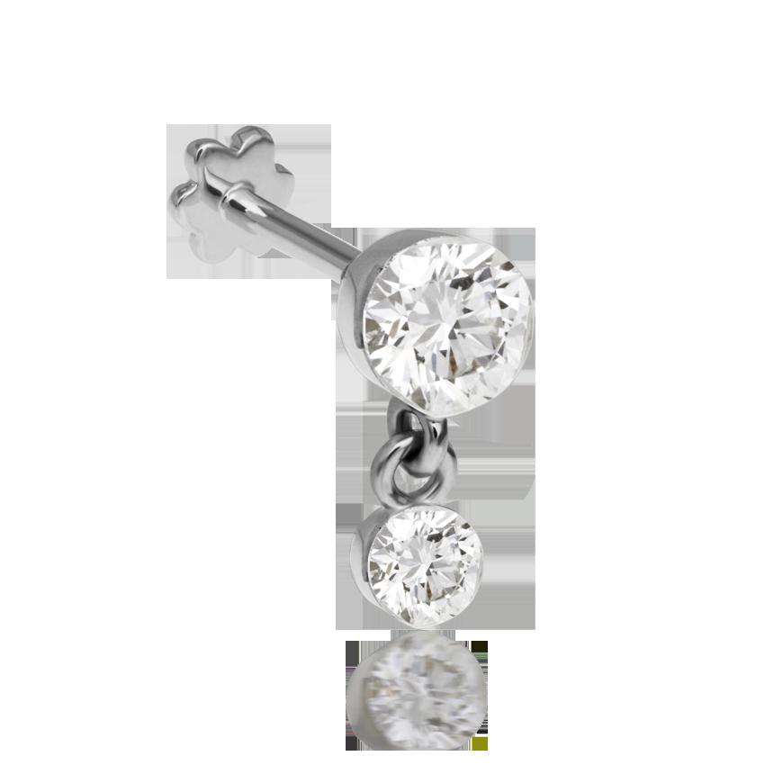 3mm-2mm Invisible Set Diamond Dangle Threaded Stud